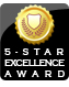 The 5-Star Excellence Award is given to websites who actively maintain a 5-star customer rating in every criteria, and have no outstanding customer issues.